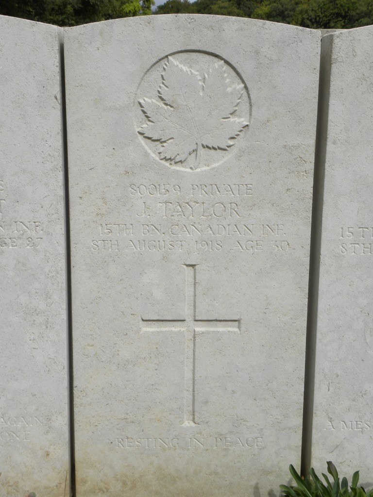 Grave marker– Submitted by 15th bn Memorial Project Team.  Dileas Gu Brath.