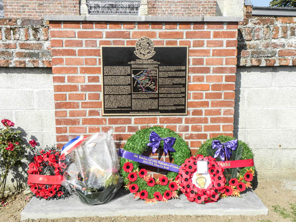 Memorial– 15th Bn (48th Highlanders of Canada) memorial located in the village of Warvillers, France.  This memorial commemorates all members of the unit who fought and in particular those who fell during the Battle of Amiens  8-9 August 1918.   Submitted by 15th Bn Memorial Project Team.  DILEAS GU BRATH