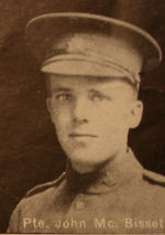 Photo of John Bissett– In memory of the men and women from the Waterloo area who went to war and did not come home. From the booklet, Peace Souvenir – Activities of Waterloo County in the Great War 1914 – 1918. From the Toronto Public Library collection.  Submitted for the project, Operation: Picture Me.