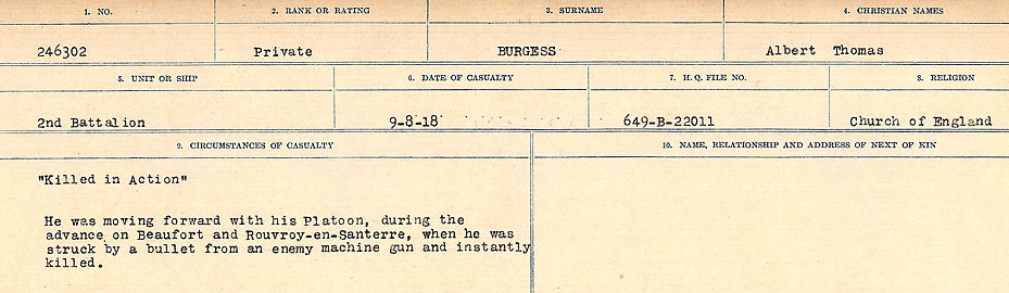 Circumstances of Death Registers– Source: Library and Archives Canada.  CIRCUMSTANCES OF DEATH REGISTERS, FIRST WORLD WAR Surnames:  Burbank to Bytheway. Microform Sequence 16; Volume Number 31829_B016725. Reference RG150, 1992-93/314, 160.  Page 93 of 926.