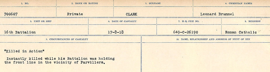 Circumstances of Death Registers– Source: Library and Archives Canada.  CIRCUMSTANCES OF DEATH REGISTERS, FIRST WORLD WAR Surnames:  CHILD TO CLAYTON.  Microform Sequence 20; Volume Number 31829_B016729. Reference RG150, 1992-93/314, 164.  Page 645 of 1068.