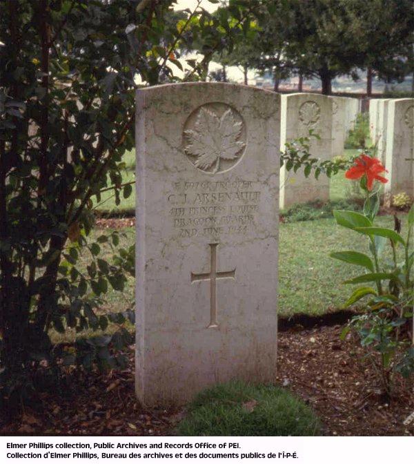 Grave marker for C.J. Arsenault