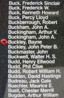 Memorial– Flight Sergeant Bayne Buckley is also commemorated on the Bomber Command Memorial Wall in Nanton, AB … photo courtesy of Marg Liessens