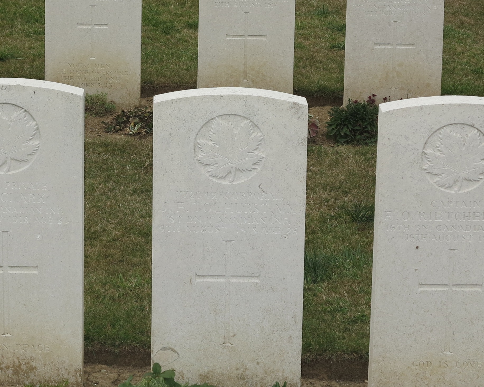 Grave Marker– 772042 Corporal J F Tolhurst 1st BN CANADIAN INF. 9th August 1918  Age 25