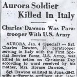 Newspaper Clipping– This obituary for Sgt Dawson was obtained from a microfilm copy of a 1944 Toronto newspaper. Courtesy of Craig Cameron.