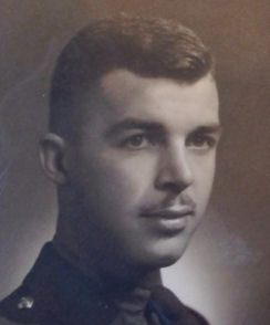 """Photo of Joseph Bullman McBride– Joseph Bullman McBride was one of the of the best and brightest """"Boys from Barrie"""". He died May 26, 1944, a 22 year old hero saving others of the Governor General Horse Guards, R.C.A.C., in Cassino, Italy. On his grave were the last 2 lines of his poem (Thus Britain cries, no beaten whine, But proudly: 'Freedom shall be mine!""""). After visiting his grave, I was able to reconnect with his sister, Mrs. P. Thompson, thanks to Clint Lovell, author of the book """"The Boys From Barrie"""". We will always remember. ??"""