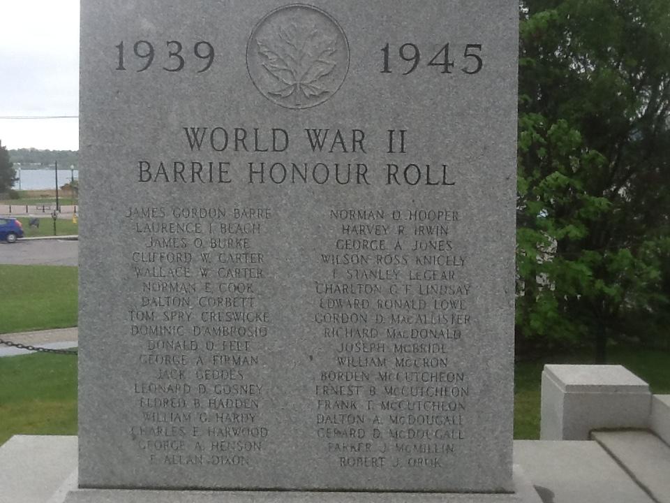 War Memorial– Barrie, Ontario