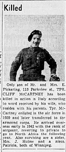 Obituary– Obituary - JOSEPH THOMAS CLIFFORD MCCARTNEY