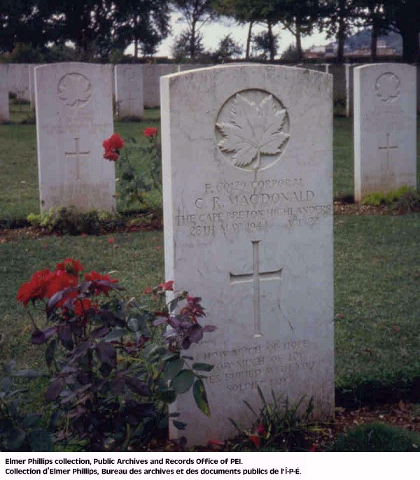 Grave marker for G.R. Macdonald