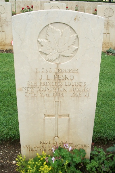 Grave Marker– Cassino War Cemetery - May 2013 … Photo courtesy of Marg Liessens