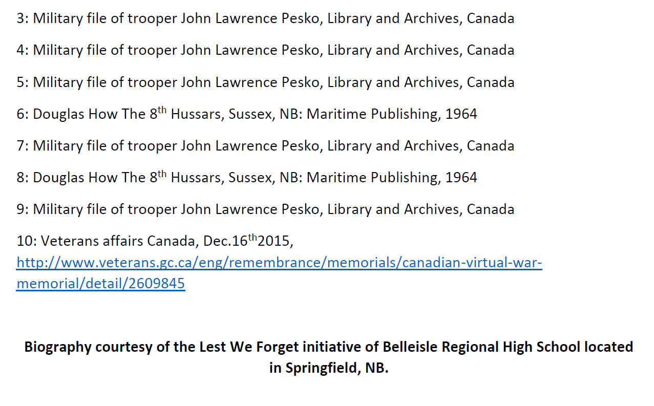 Essay (Page 3)– In 2015, the grade 11 Modern History students at Belleisle Regional High School continued to write biographies for soldiers from the local area who died during the First and Second World Wars.