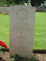 Grave marker– He is buried here at Cassino War Cemetery Italy.