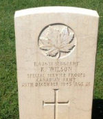 Grave Marker– My maiden name is Wilson, but I have no idea if this veteran is a relative.  I noticed this grave while visiting the Cassino cemetery in Italy.  I thought Mr. Wilson's family might like this photo.