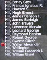 Memorial– Sergeant Walter Alexander Hill is also commemorated on the Bomber Command Memorial Wall in Nanton, AB … photo courtesy of Marg Liessens