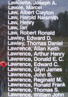 Memorial– Warrant Officer Edward Charles Lawrence is also commemorated on the Bomber Command Memorial Wall in Nanton, AB … photo courtesy of Marg Liessens