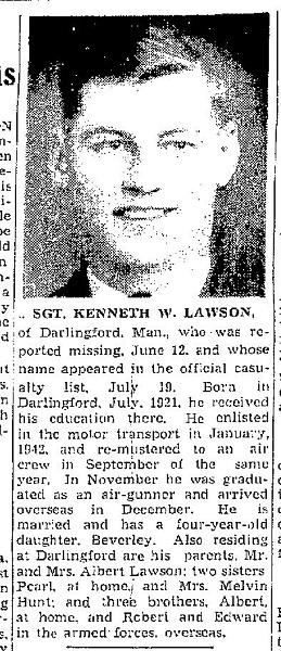 Newspaper Clipping– Flt Sgt KW Lawson, Winnipeg Free Press, July 26, 1943 at pg 18