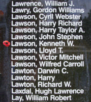 Memorial– Flight Sergeant Kenneth William Lawson is also commemorated on the Bomber Command Memorial Wall in Nanton, AB … photo courtesy of Marg Liessens