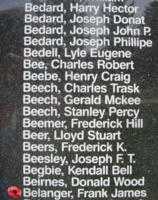 Memorial– Warrant officer Class II Frank James Belanger is also commemorated on the Bomber Command Memorial Wall in Nanton, AB … photo courtesy of Marg Liessens