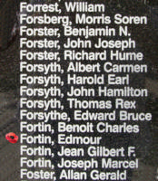 Memorial– Flight Sergeant Edmour Fortin is also commemorated on the Bomber Command Memorial Wall in Nanton, AB … photo courtesy of Marg Liessens