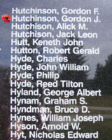 Memorial– Warrant Officer Gordon James Hutchinson is also commemorated on the Bomber Command Memorial Wall in Nanton, AB … photo courtesy of Marg Liessens