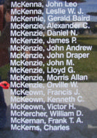 Memorial– Sergeant Orville Wilbert McKenzie is also commemorated on the Bomber Command Memorial Wall in Nanton, AB … photo courtesy of Marg Liessens