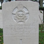 Grave Marker– Photo used with permission of Frans van Cappellen, Putten, The Netherlands Wellington aircraft HZ-263 of 199 (RAF) Squadron was airborne 1930 12 Mar 43 from Ingham, Lincolnshire. Lost in the sea off the coast of Holland. Sgt Edward's body was washed ashore and is now buried in Bergen General Cemetery; his comrades have no known graves. They are: F/L W.J.King; Sgt D.A.Nunn; Sgt C.F.White; and Sgt C.R.Townsend RAAF.  (Source:  www.lostbombers.co.uk)