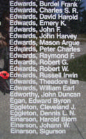Memorial– Flight Sergeant Russell Irwin Edwards is also commemorated on the Bomber Command Memorial Wall in Nanton, AB … photo courtesy of Marg Liessens
