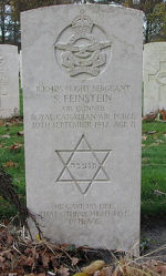 Grave marker– Grave Marker (Photo used with permission of Frans van Cappellen, Putten, The Netherlands) Wellington aircraft was lost over enemy-held territory killing two Canadian crew members, FS Feinstein and FS R. L. Wakelin, along with three non-Canadian crew.