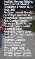 Memorial– Flight Sergeant Sam Feinstein is also commemorated on the Bomber Command Memorial Wall in Nanton, AB … photo courtesy of Marg Liessens