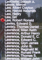 Memorial– Sergeant Robert Ronald Law is also commemorated on the Bomber Command Memorial Wall in Nanton, AB … photo courtesy of Marg Liessens