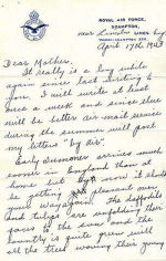 Letter, Page 1– Vincent MacCausland (letter head) last letter home to mother - 1 month before Dambuster mission.