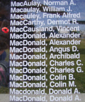 Memorial– Flying Officer Vincent Sanford MacCausland is also commemorated on the Bomber Command Memorial Wall in Nanton, AB … photo courtesy of Marg Liessens