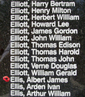 Memorial– Flying Officer Albert James Ellis is also commemorated on the Bomber Command Memorial Wall in Nanton, AB … photo courtesy of Marg Liessens