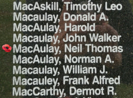 Memorial– Warrant Officer Neil Thomas Macaulay is also commemorated on the Bomber Command Memorial Wall in Nanton, AB … photo courtesy of Marg Liessens