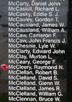 Memorial– Flying Officer Raymond Norman McCleery is also commemorated on the Bomber Command Memorial Wall in Nanton, AB … photo courtesy of Marg Liessens