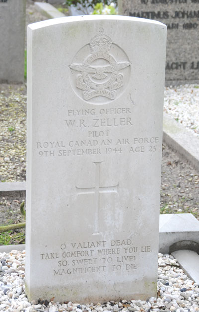 Grave Marker– This is a picture of the grave of Flying Officer(pilot) Warren Robert Zeller who crashed with his Mosquito on the night of the 9th of September 1944.