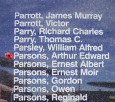 Memorial– Flying Officer Arthur Edward Parsons is commemorated on the Bomber Command Memorial Wall in Nanton, AB … photo courtesy of Marg Liessens