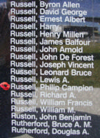 Memorial– Flying Officer Philip Campion Digby Russell is also commemorated on the Bomber Command Memorial Wall in Nanton, AB … photo courtesy of Marg Liessens