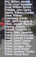 Memorial– Flight Sergeant Joseph Paul Olivier Ethier is also commemorated on the Bomber Command Memorial Wall in Nanton, AB … photo courtesy of Marg Liessens