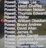 Memorial– Wireless Operator William Obediah Powell is commemorated on the Bomber Command Memorial Wall in Nanton, AB … photo courtesy of Marg Liessens