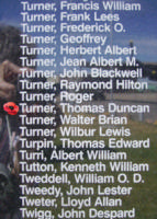 Memorial– Pilot Officer Thomas Duncan Turner is also commemorated on the Bomber Command Memorial Wall in Nanton, AB … photo courtesy of Marg Liessens