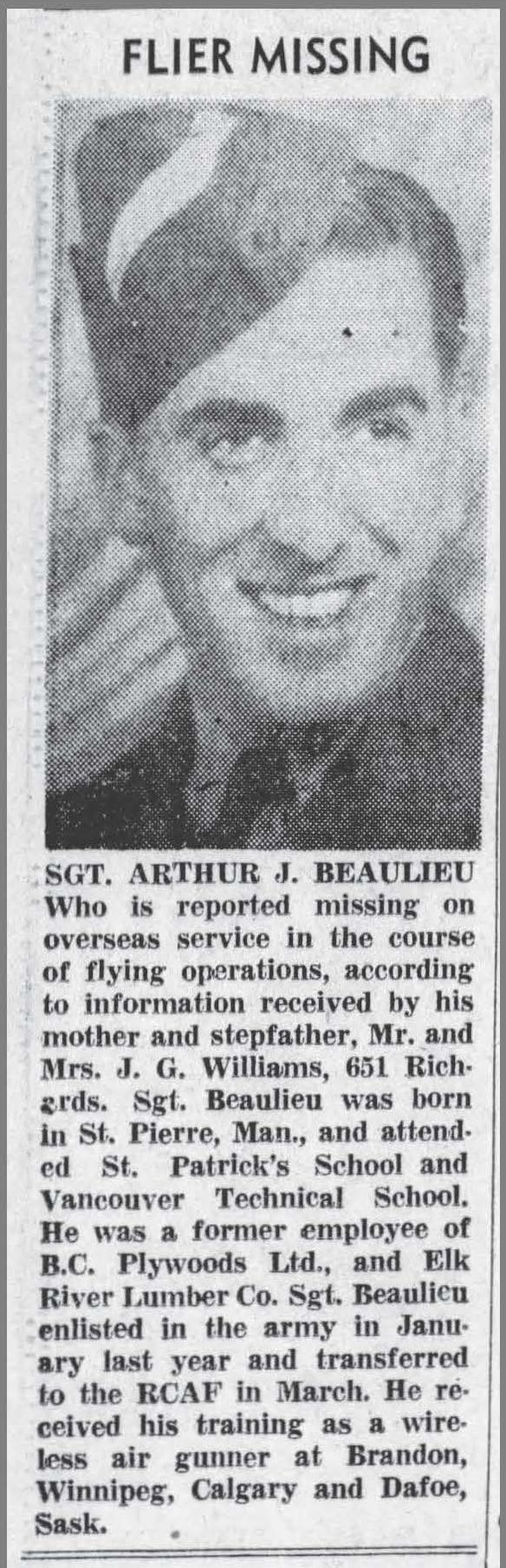 Photo of ARTHUR JOSEPH BEAULIEU– Clipping from newspaper.  Vancouver Sun, July 17, 1943