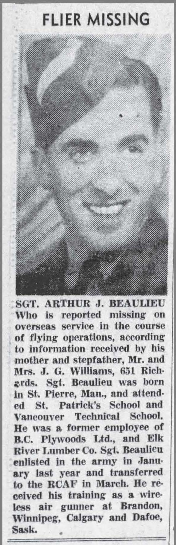 Photo de ARTHUR JOSEPH BEAULIEU – Découpage du journal, Vancouver Sun, 17 juillet 1943.