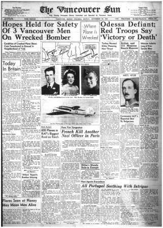 Newspaper Clipping– Newspaper article relating to accident September 21, 1941 From Library and Archives Files, Ottawa, September 2014