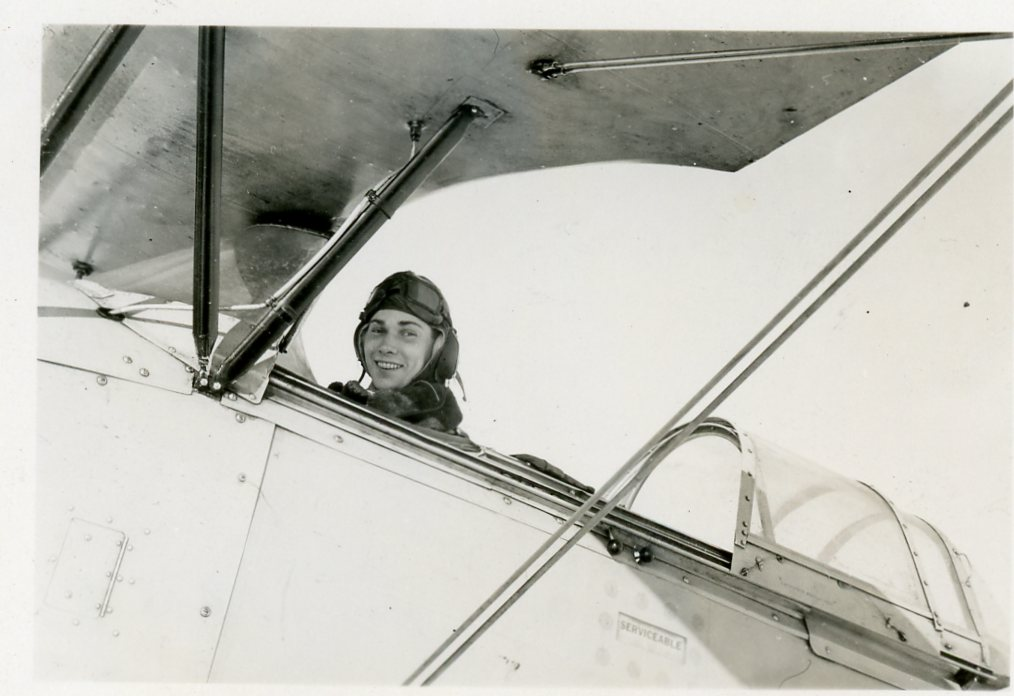 Photo of LEONARD FELDMAN– Photograph of Flight Sergeant Leonard Feldman from the wartime photograph album of his friend John Young. Both men were friends from Windsor, Ontario who joined the RCAF together and were in pilot training at Trenton, Ontario at the time this photograph was taken.  Submitted by John Young's son BGen Greg Young (ret).