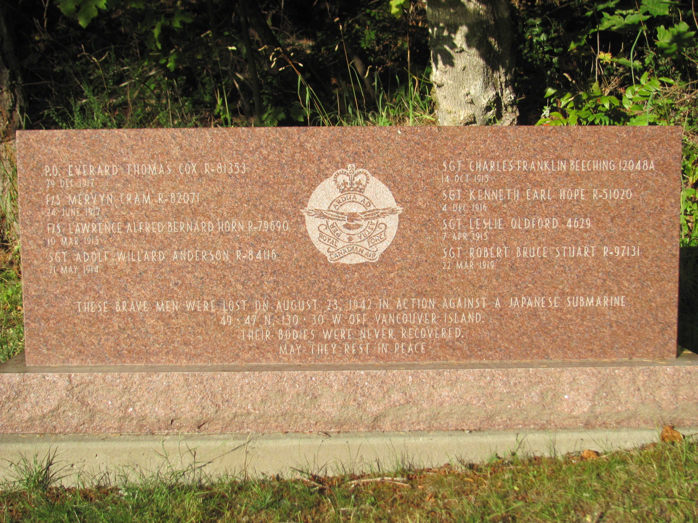 Memorial– Memorial for Lawrence Horn and 6 other R.C.A.F. personnel, lost at sea while engaging in battle against a Japanese submarine off the coast of Vancouver Island, British Columbia. This memorial stands in Royal Oak Burial Park in Victoria, B.C.