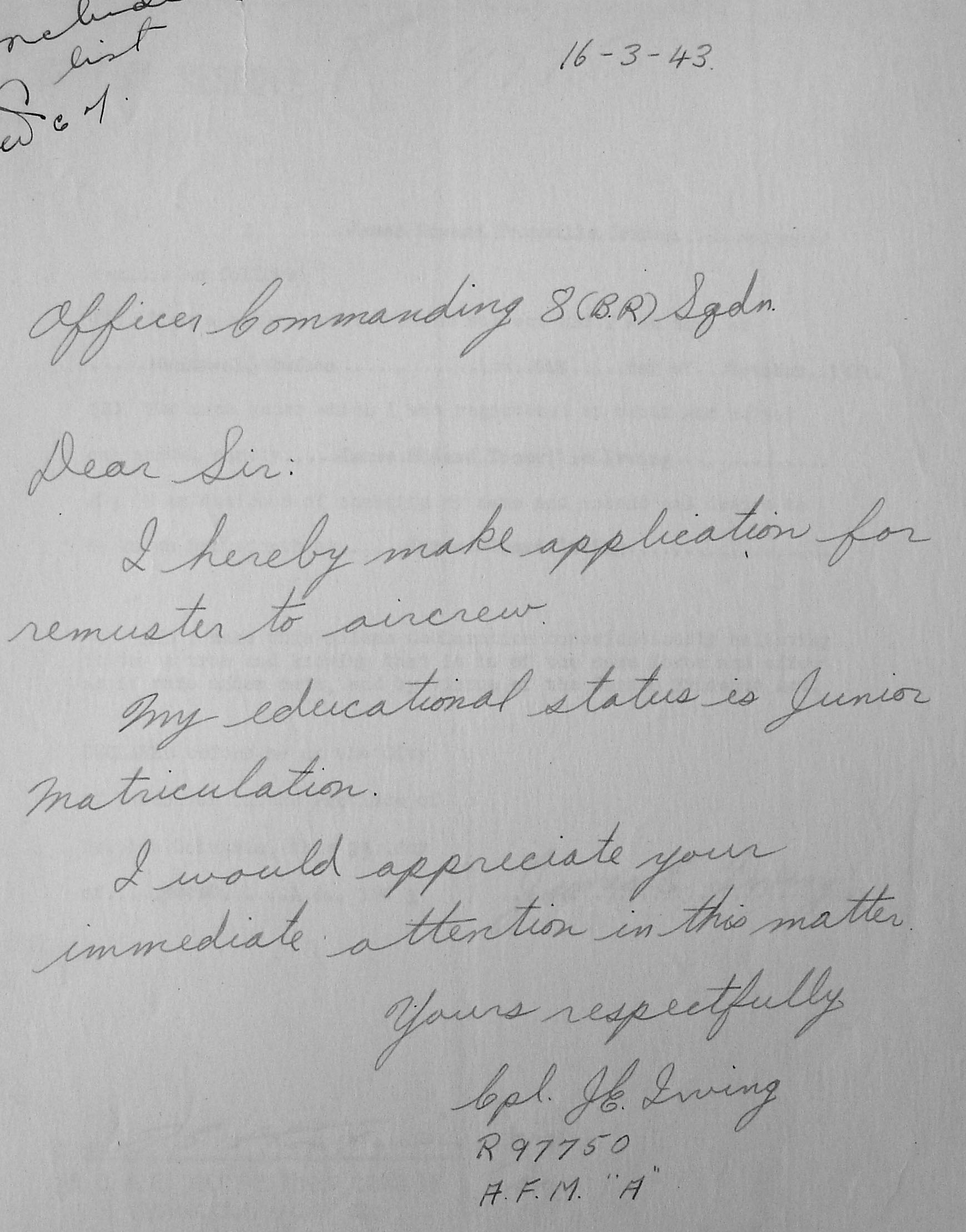 Letter– Letter requesting remustering to aircrew, found in the Library and Archives Canada, Ottawa.