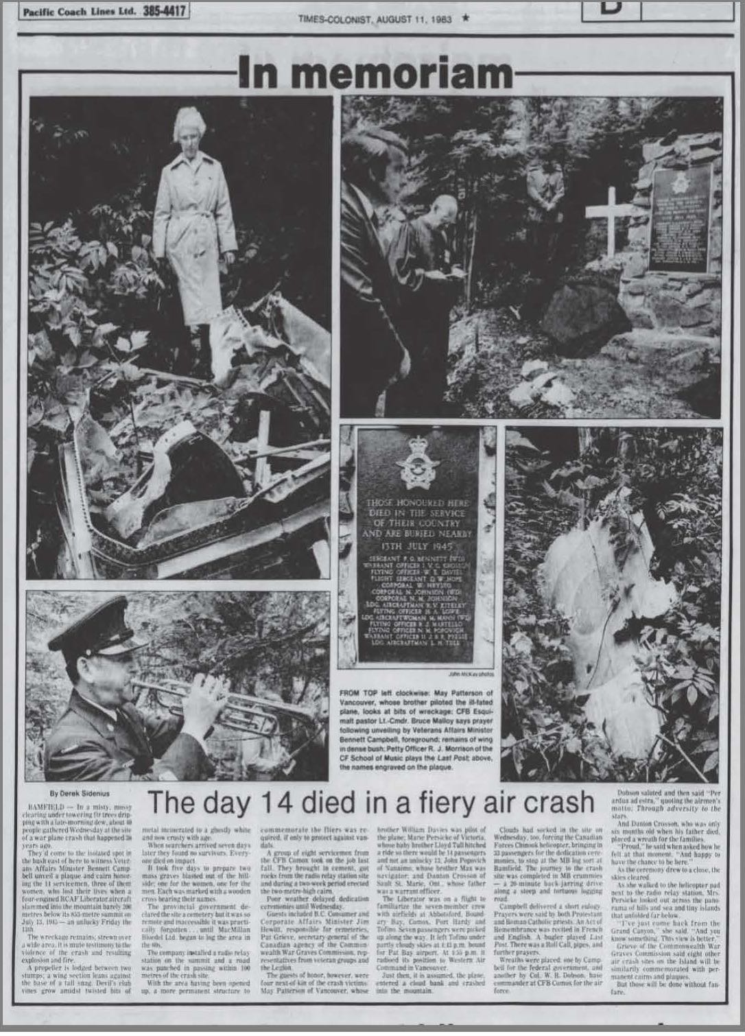 Newspaper clipping– The Vancouver Sun, August 11 1983