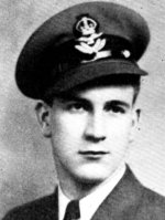 Photo of Terence Kidd– Kidd, Terence William - Pilot Officer. Born 30th September 1919, at Montreal, Educated at Loyola College, Montreal. Entered the service of the Bank 22nd August, 1938. Served at Chambly, Lacolle and Westmount, Que.  Enlisted 3rd July, 1940, from Westmount in R.C.A.F. Pilot Officer in March, 1943. Trained at Brandon, Man., and Trenton, Ont. Posted to Fingal and Malton, Ont., as Armourer. Remustered as Pilot and trained at Toronto, Goderich and Hagersville, Ont. Remustered as Bombardier and trained at Dafoc, Sask., graduating as Pilot Officer. Posted overseas early in April, 1943.  Reported missing with 36 other Canadian airmen when transport carrying them to England was torpedoed and sunk. Officially presumed dead January, 1944. From a memorial booklet prepared by the Canadian Bank of Commerce.