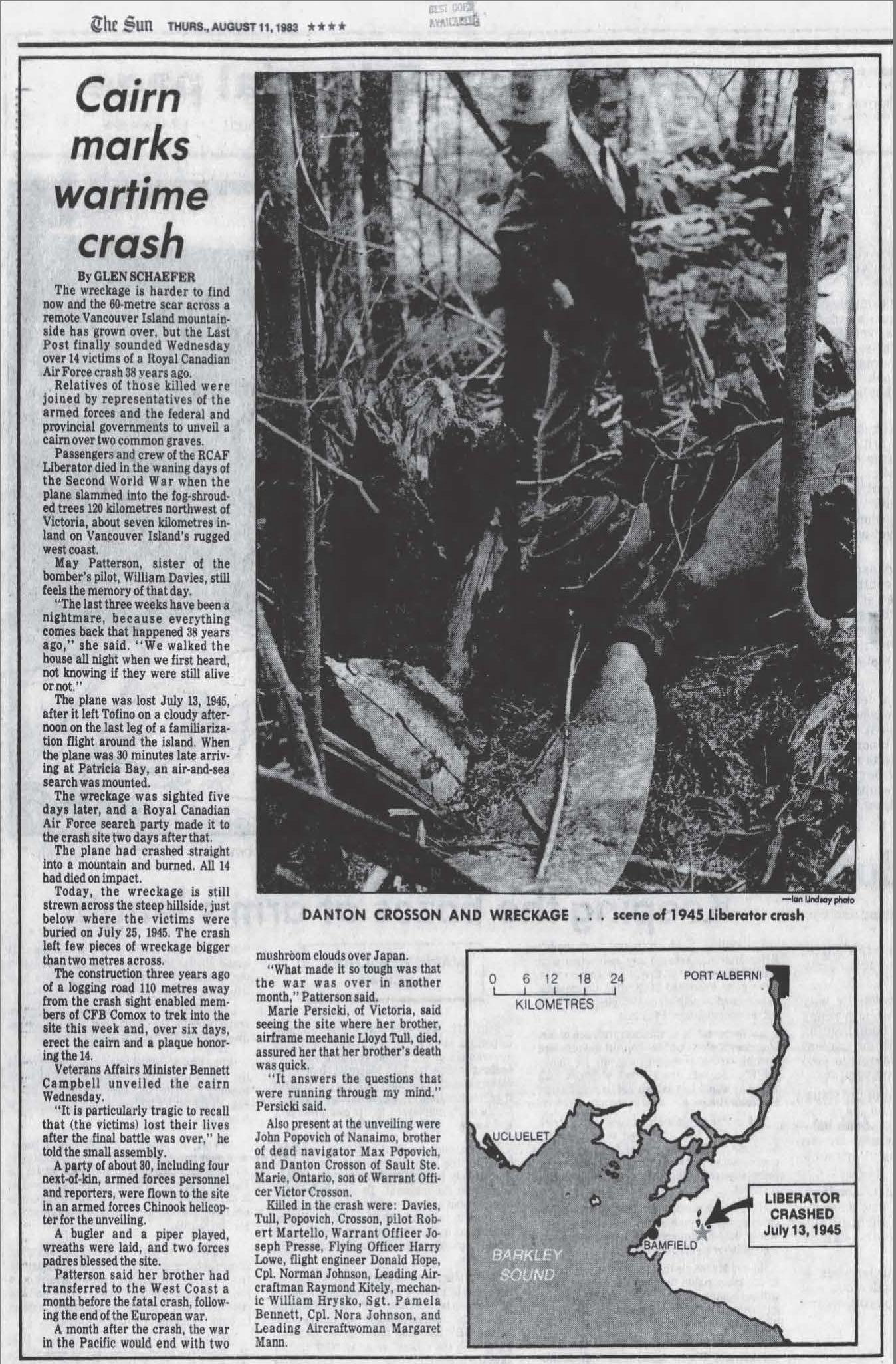 Newspaper clipping– Vancouver Sun, August 11, 1983  For more information, please visit https://bcam.net/wp-content/uploads/2018/11/Presse-JB.pdf